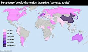 new atheist map of the world dominated by china where half the