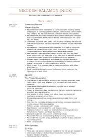 Press Operator Resume Production Operator Resume Samples Visualcv Resume Samples Database