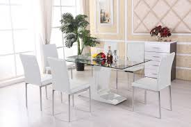 Dining Table Set Details About Glass Dining Table Furniture And 4 Cream Chairs Set