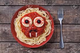 halloween scary pasta food vampire face with big eyes and