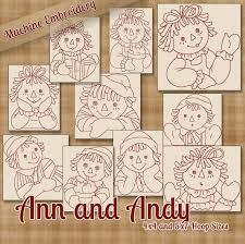 raggedy ann and andy machine embroidery designs u2013 redwork