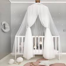 Cot Bed Canopy Pink Gray White Baby Princess Bed Valance Palace Mosquito