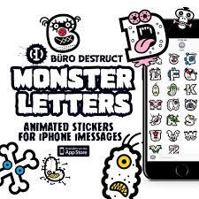 monster letters sticker pack büro destruct