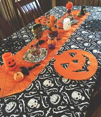 halloween table runner pattern diy halloween table decor glass candy jar wooden dining table