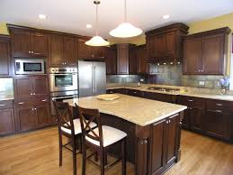 stained wood kitchen cabinets killim area rug window treatment cherry cabinet kitchens brown
