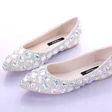 flat heels pointed toe ab crystal wedding shoes silver dancing