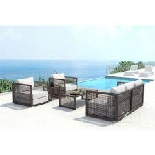 zuo modern 703823 coronado outdoor sofa in woven cocoa resin