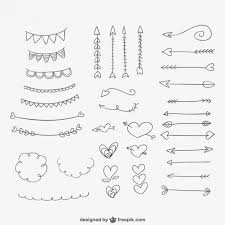 ornaments hearts and arrows vector free