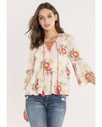 sleeve lace blouse miss me 3 4 sleeve lace up top country outfitter
