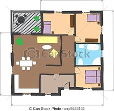 house layout clipart illustration of floor plan of house colored doodle style eps vector