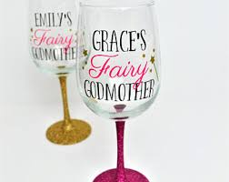 godmother wine glass fairy godmother wine glass glittered godmother cup gift