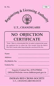 no objection certificate india format no objection certificate for old vehicles in chandigarh
