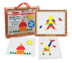amazon com melissa u0026 doug deluxe wooden magnetic pattern blocks