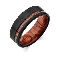 mens wood wedding bands koa wood wedding ring black brushed tungsten band offset koa