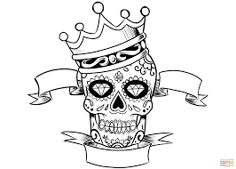 sugar skull with crown coloring page free printable coloring pages