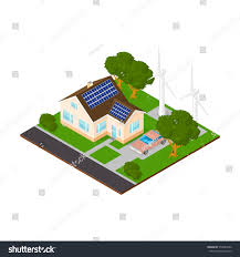 eco friendly home isometric modern eco friendly home stock vector 576984292