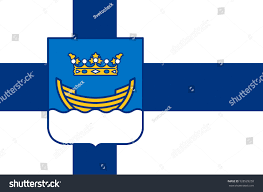 Flag Capital Flag Helsinki Capital Largest City Finland Stock Illustration