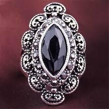 aliexpress buy mens rings black precious stones real online shop men rings big black precious stones antique silver