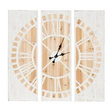 3 panel wood wall kate and laurel piedmont 3 panel wood wall clock white and