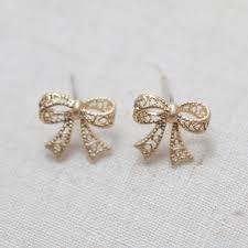 bow earrings bow earrings in gold on luulla