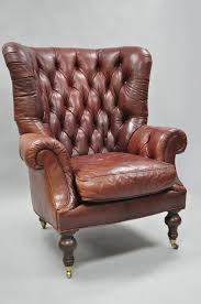 Lillian August Chairs Oversized Lillian August Brown Tufted Leather English Chesterfield