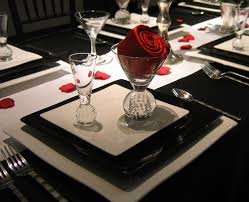 red and table settings wedding anniversary decorating