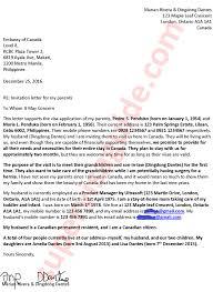 letter of invitation from the inviter the child grandchild in canada