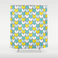 tulip knit aqua gray yellow shower curtain by beth thompson