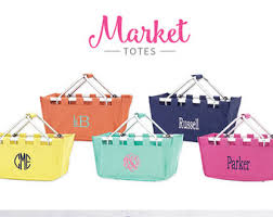 personalized basket monogrammed market basket personalized market tote fold up