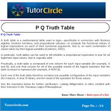 Pq Truth Table P Q Truth Table By Tutorcircle Team Issuu