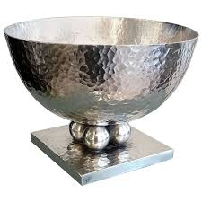 exceptional geometric design silvered metal bowl by jean despres