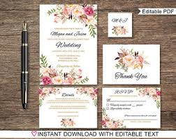 floral wedding invitation printable rustic wedding invitation