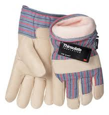 1 pair of tillman large thinsulate winter gloves w top grain