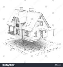 wireframe house raised above floor plan stock illustration