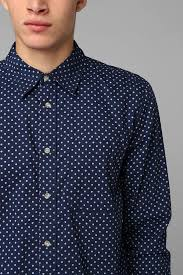 urban outfitters neuw polka dot button down shirt in blue for men