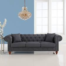 Chesterfield Style Sofa Sale by Amazon Com Classic Linen Fabric Scroll Arm Tufted Button
