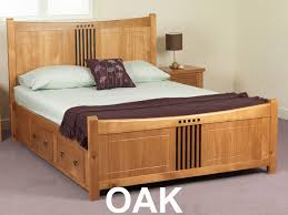 elegant king size bed frame with storage drawer with oak wood