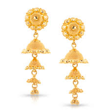 gold jhumka earrings design with price lilly beaded gold jhumkas jewellery india online caratlane