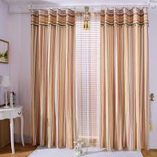 Basement Window Cover Ideas - striped light brown basement window curtains with white sheer