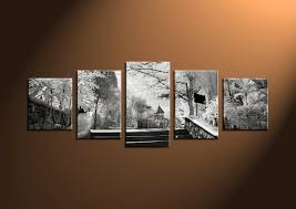 5 piece grey canvas modern sunrise wall art