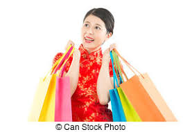 new year shopping giving gold ingot to someone for new year stock