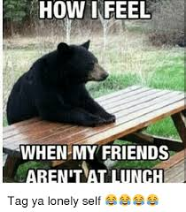 Lonely Meme - how i feel when my friends arenilat lunch tag ya lonely self