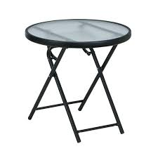 Patio Side Table Side Table Outdoor Patio Side Round Folding Table Glass Top