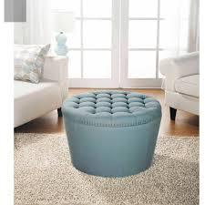 furniture round blue tufted storage ottoman with rectangular