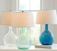 Aqua Table Lamp Eva Colored Glass Table Lamp Pottery Barn