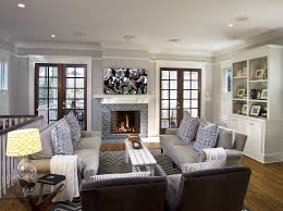 cottage living room with crown molding by reform inc zillow