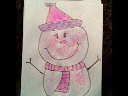 drawing how to draw a glitter snowman christmas card cartoon