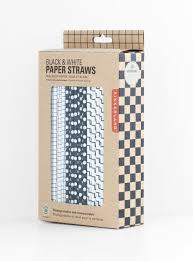 paper straws kikkerland biodegradable paper straws gray and white