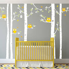 birch tree and owl forest wall decal for nursery or children u0027s