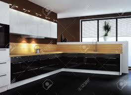 cuisine moderne noir et blanc cuisine quipe blanc laqu great cuisine blanc laqu et bois with